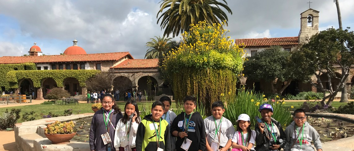 Fourth grade students in front of the Mission.